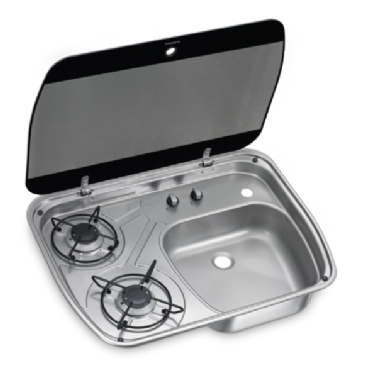 DOMETIC HSG 2445 TWO-BURNER HOB AND SINK COMBINATION WITH GLASS LID, 600 X 445 MM